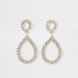 Rose gold colour diamante teardrop earrings
