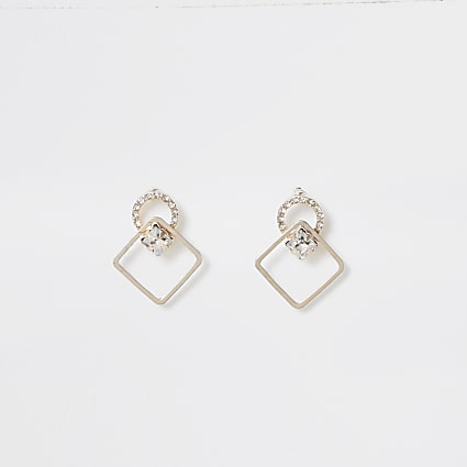 Rose gold colour diamond stud earrings