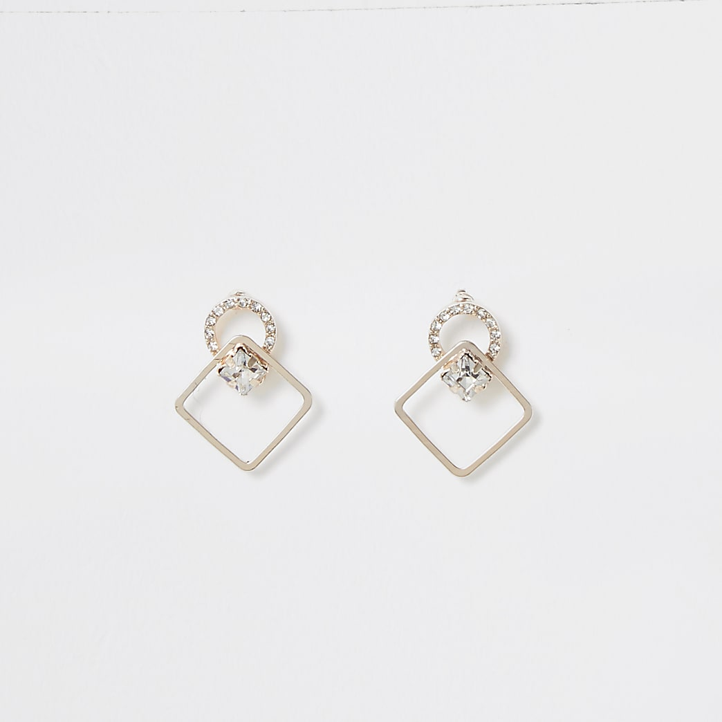 Rose gold colour diamond stud earrings