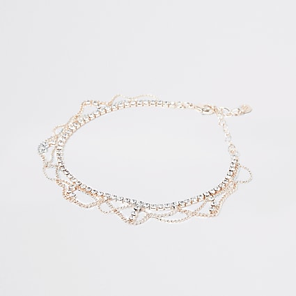 Rose gold colour drape diamante anklet