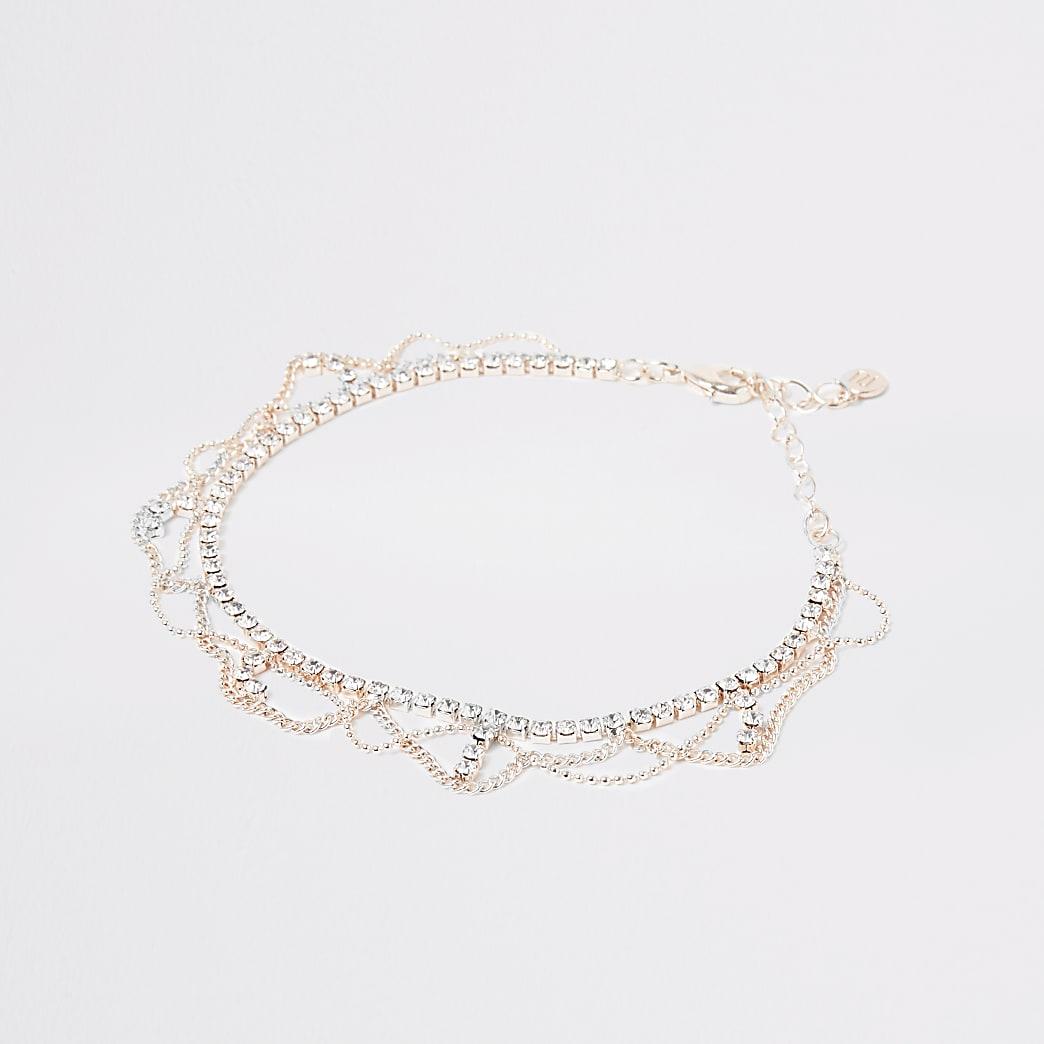Bracelet de cheville drapéà strass or rose