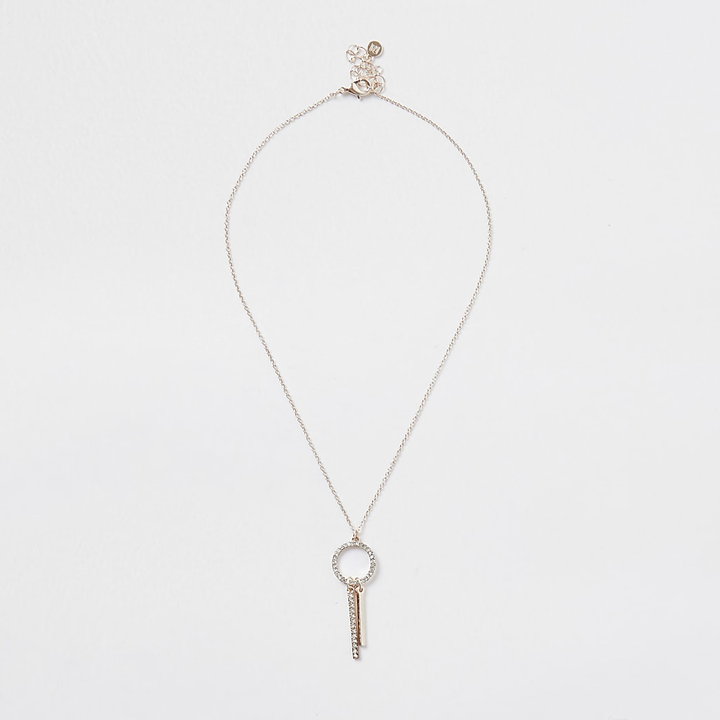 Rose gold colour drop bar diamante necklace