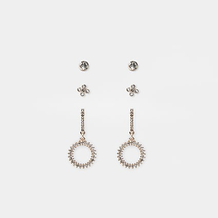 Rose gold colour drop earrings 3 pack