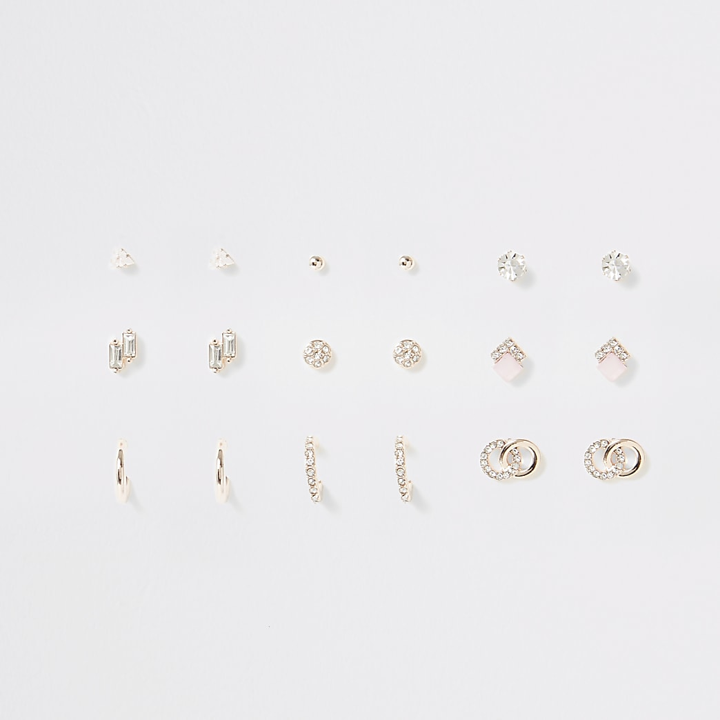 Rose gold colour earrings multipack
