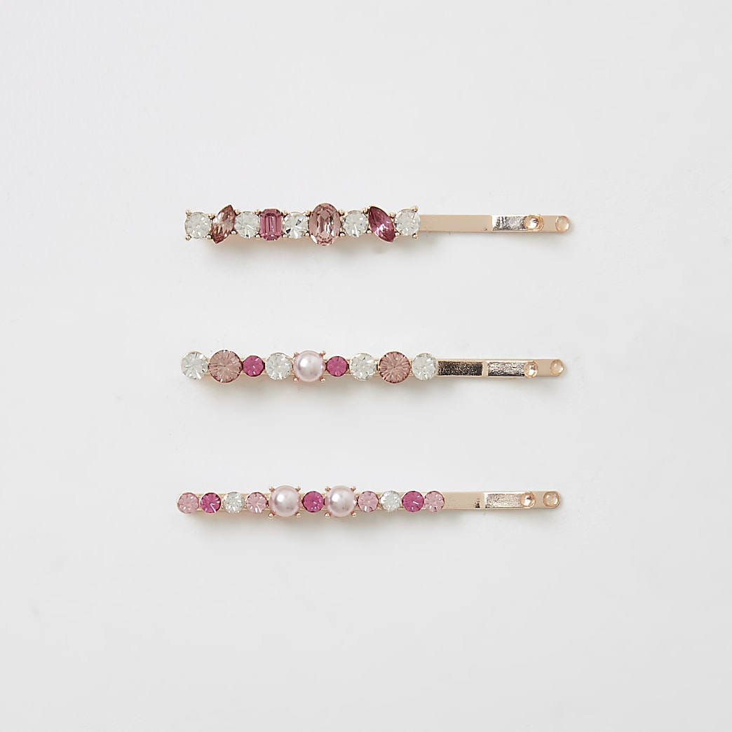 Rose gold colour embellish hair slides 3 pack