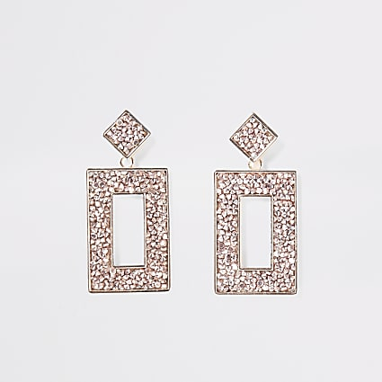 Rose gold colour embellish rectangle earrings