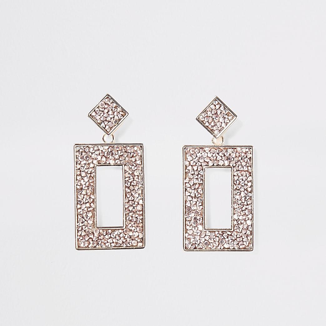 Rose gold colour embellish rectangle earrings