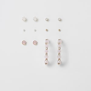 Set van 6 roségoudkleurige verfraaide oorbellen