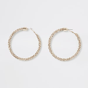 Rose gold colour embellished hoop earrings