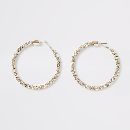 Rose gold colour embellished hoop earrings