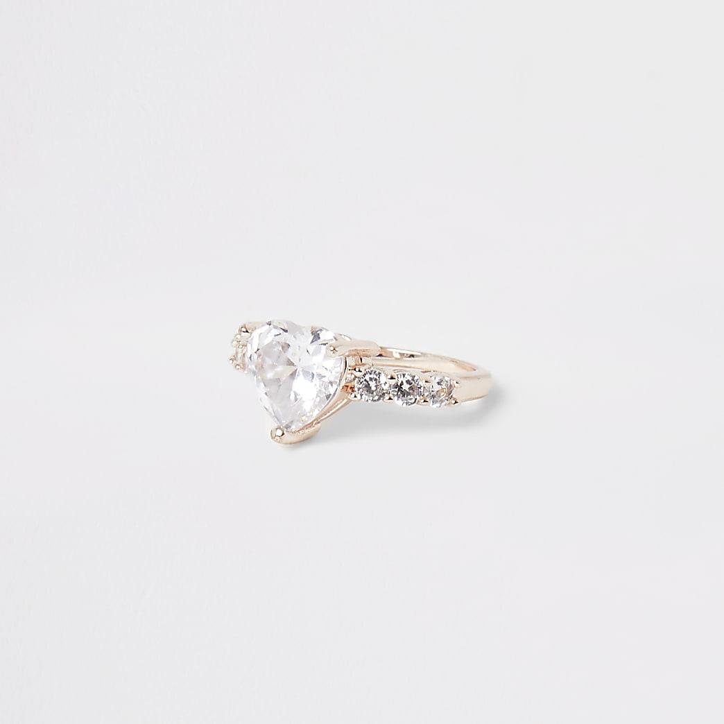Roségoudkleurige hartvormige ring met siersteentjes