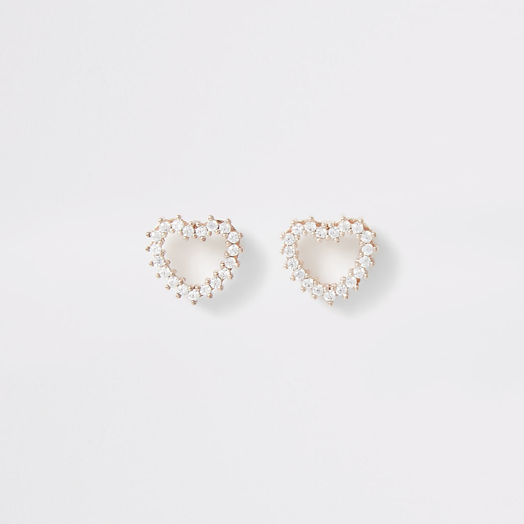 Rose gold colour heart stud earrings