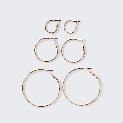 Rose gold colour hoop earrings 3 pack