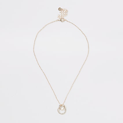 Rose gold colour interlink diamante necklace