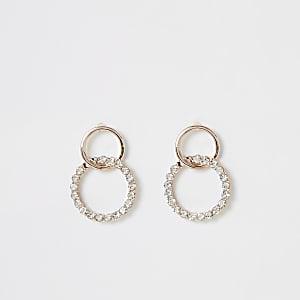 Boucles d'oreilles entrelacées or rose