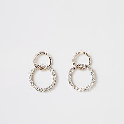 Rose gold colour interlinked drop earring