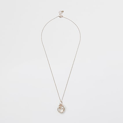 Rose gold colour interlinked pendant necklace