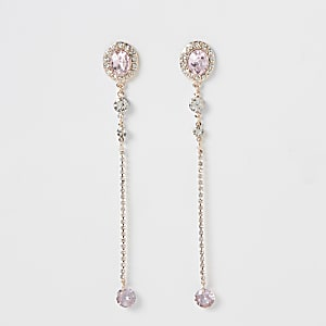 Rose gold colour jewel dangle earrings