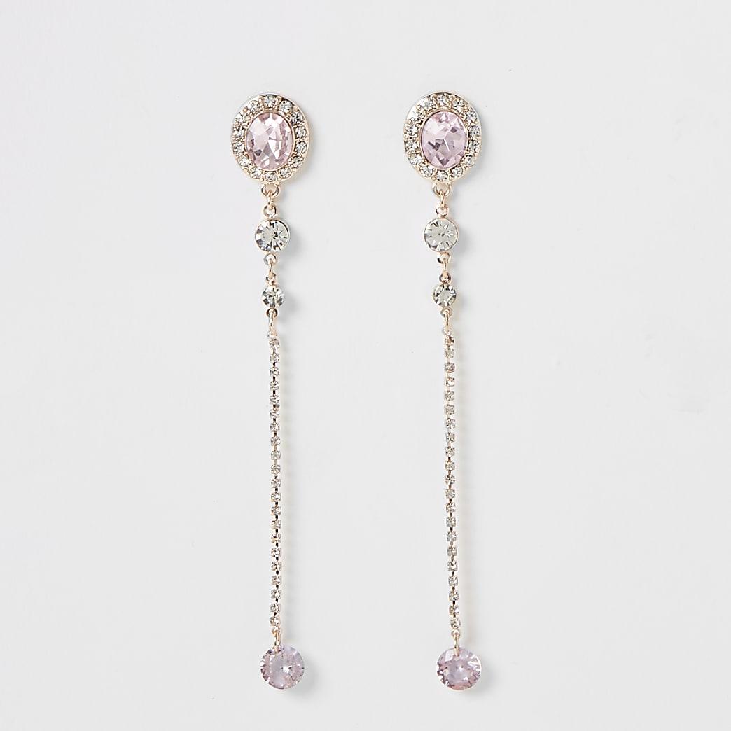 Rose gold colour jewel dangle earrings