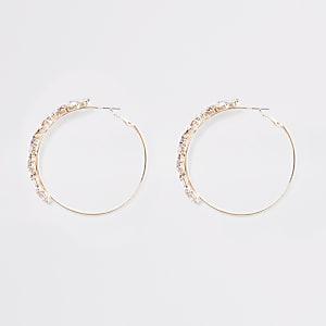 Rose gold colour jewel hoop earrings