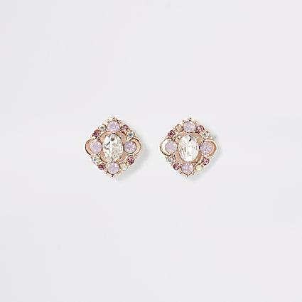Rose gold colour jewel stud earrings