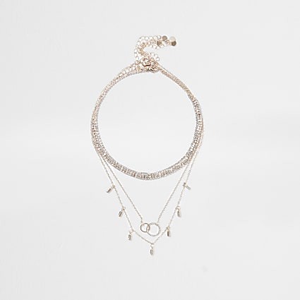 Rose gold colour layered necklace