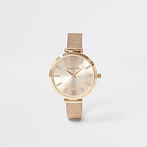 Rose gold colour mesh strap RI watch