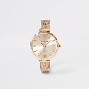 Roségoudkleurig horloge met mesh bandje en RI-print