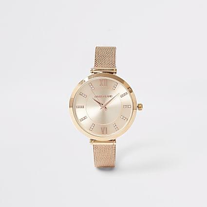Rose gold colour mesh strap RI watch