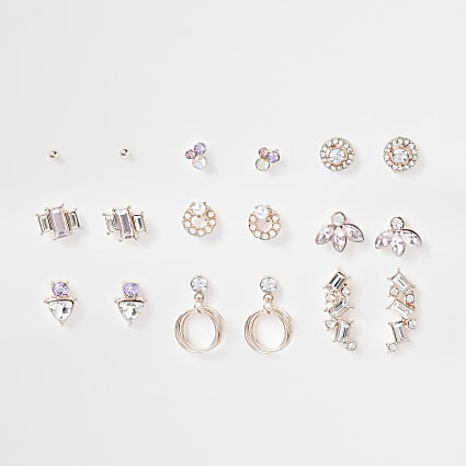 Rose gold colour multi-pack earrings