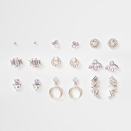 Rose gold colour multi-pack earrings