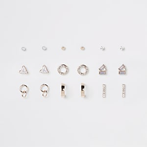 Rose gold colour opal stud earrings pack