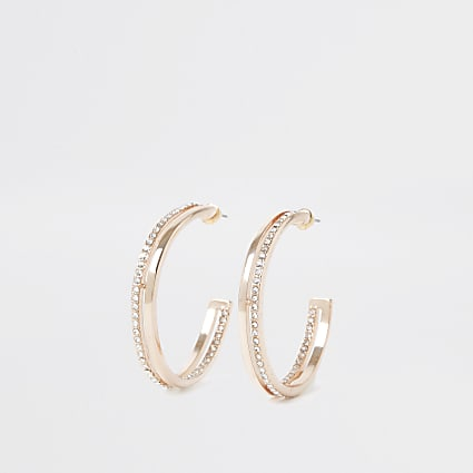 Rose gold colour paved hoop earrings