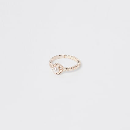 Rose gold colour pearl stone ring