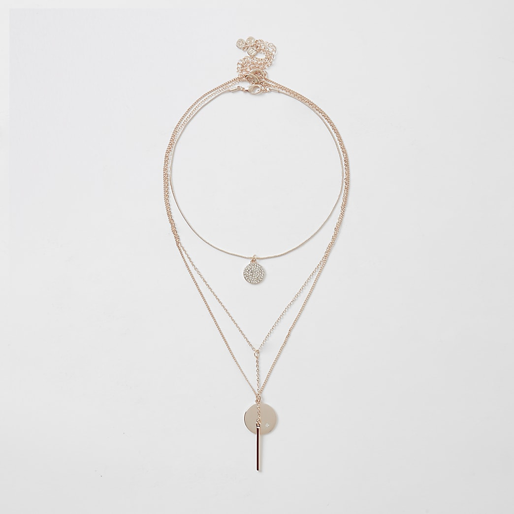 Rose gold colour pendant choker 3 pack