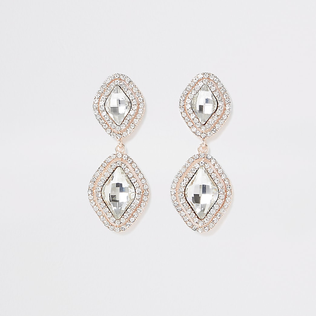 Rose gold colour rhombus diamante earrings
