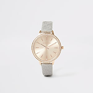 Montre avec RI en relief or rose