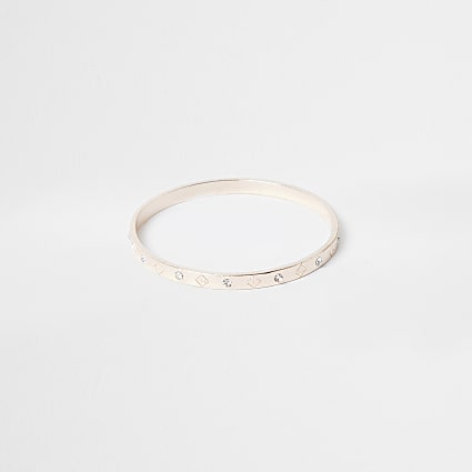 Rose gold colour RI logo diamante bangle