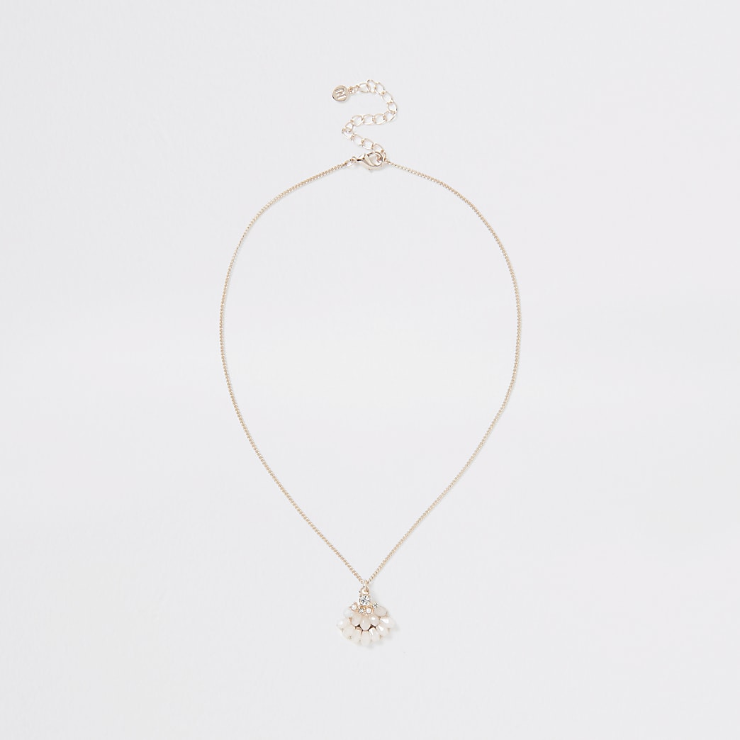 Rose gold colour short diamante necklace