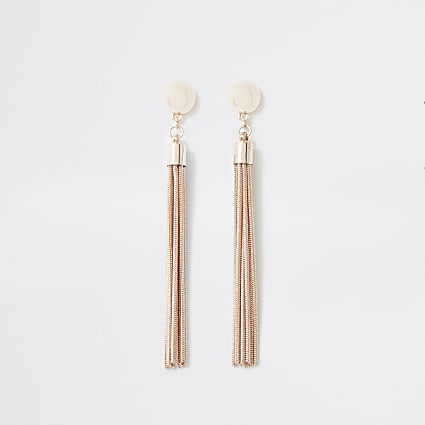 Rose gold colour slinky chain drop earrings