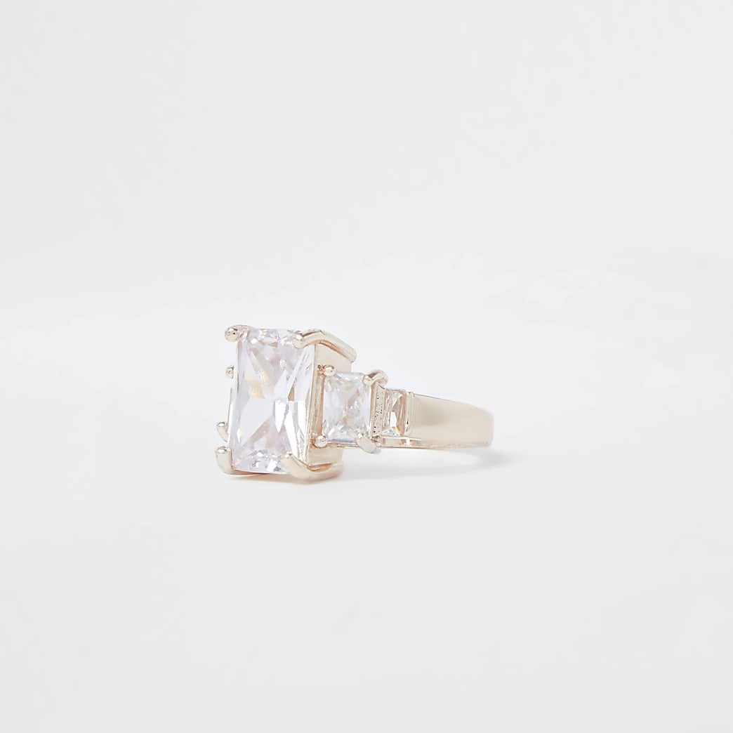 Rose gold colour square crystal ring