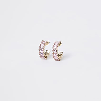 Rose gold colour stone hoop earrings