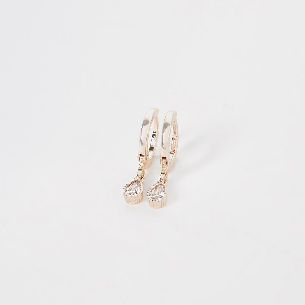 Rose gold colour teardrop hoop earrings
