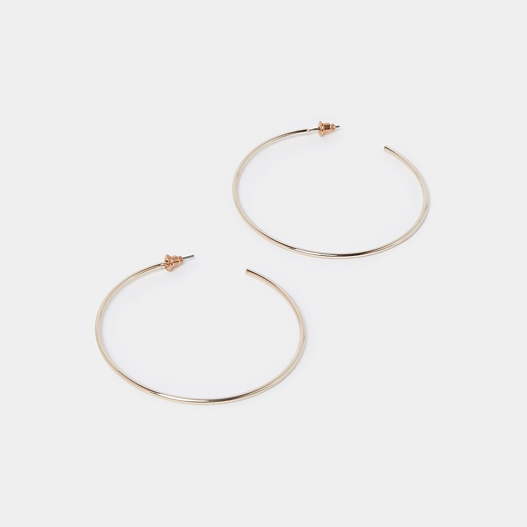 Rose gold colour thin hoop earrings