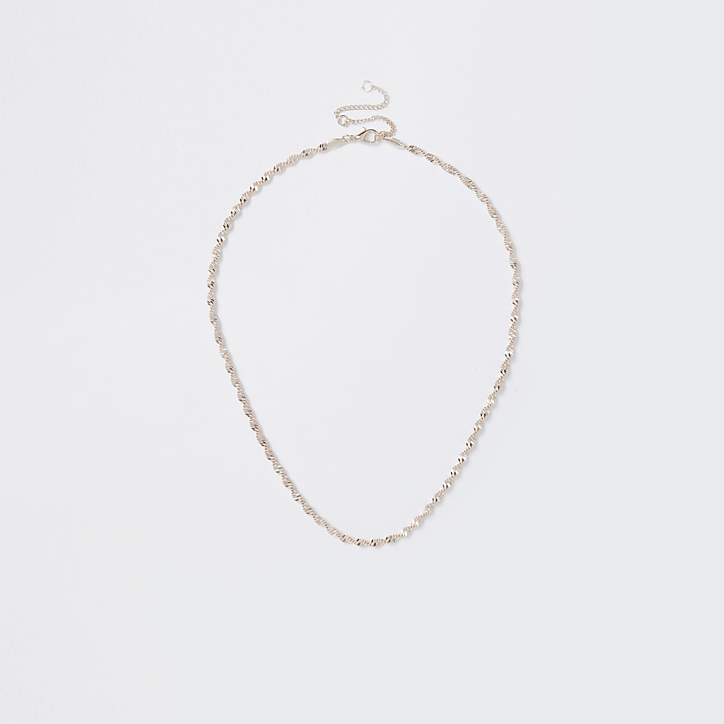 Rose gold colour twist chain necklace