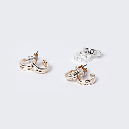 Rose gold colour twist hoop earrings 3 pack
