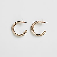 Rose gold colour twist hoop earrings
