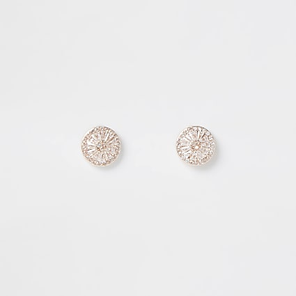 Rose gold colour wheel stud earrings
