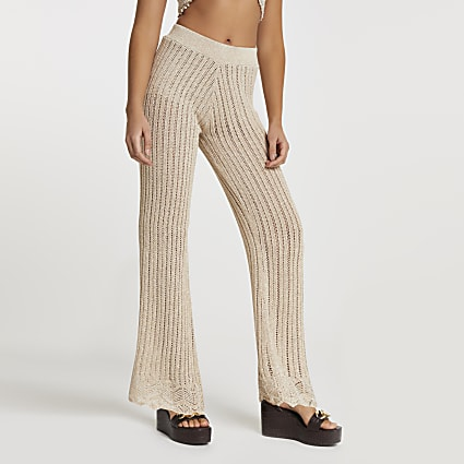 Rose gold crochet knit wide leg trousers