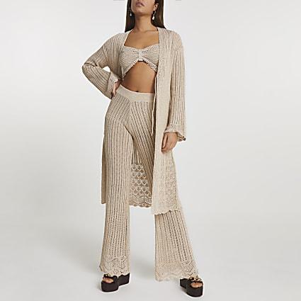 Rose gold crochet tie front cardigan